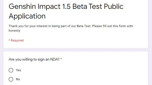 How to get the Genshin Impact beta sign up in the 1.5 update