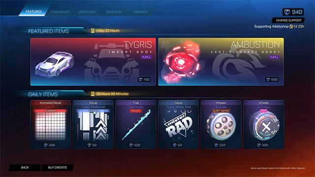 The Rocket League WIP decal is one of the new cosmetics in Season 2. This new work-in-progress paint job can make a player's car look like it is not finished, as the name implies. But it is not completely obviously how to obtain it. Here's how to get the Rocket League WIP decal. How to get the Rocket League W.I.P. decal The WIP decal in Rocket League can be earned in two different ways: the Item Shop or through Blueprints. Blueprints can be earned after playing an online match. They are not common so don't expect them to rain down after each set. Blueprints replaced crates in late 2019. Once players get a Blueprint, they can pay some credits so build that item. The other way is also up to luck as players would have to wait for the decal to come into the Item Shop. This shop cycles about every single day or so and runs through different items. The animated decal will be 300 credits when it comes into the shop but players have to check every day so they don't miss it. This is $3 worth of credits, but credits must be purchased in $5, $10, $25, or $50 increments. Players cannot earn the Rocket League WIP decal through the Rocket Pass. It is not one of the levels in the free or premium tiers. However, the premium Rocket Pass does contain eight tiers of 100 credits, which will be helpful for those who get a Blueprint with the WIP decal inside.
