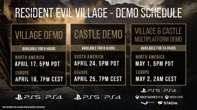 Resident Evil Village Demo Schedule