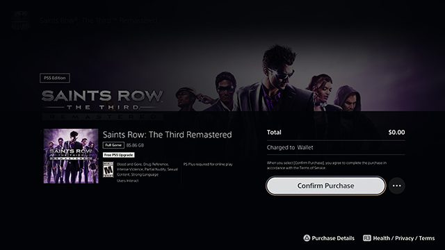 How to get the Saints Row 3 PS5 upgrade