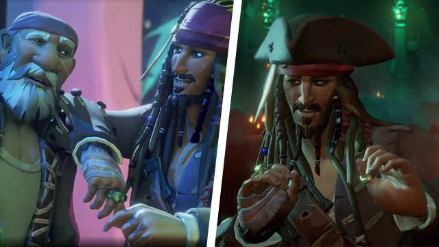 Johnny Depp playing Jack Sparrow in Sea of Thieves