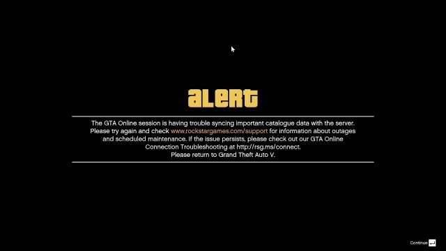 GTA Online session is having trouble message