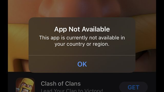 iPhone App not available error