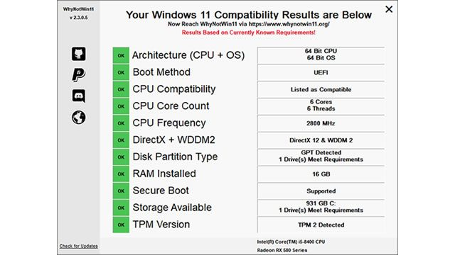 Windows 11 compatibility WhyNotWin11 test results